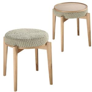 Stool Natural Wood Green