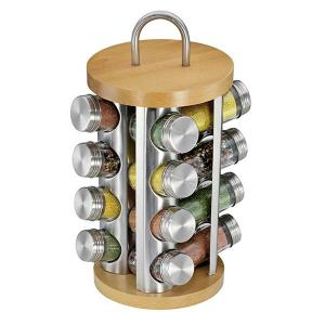 Round Spice Rack With 16 Glasses Beech