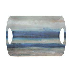 Large Abstract Luxury Handled Tray Blue