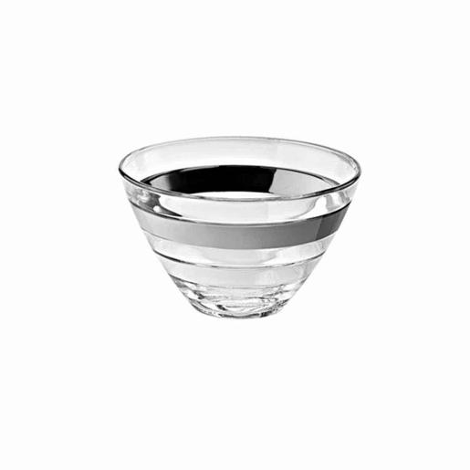 Baguette Individual Bowl Glass with Platinum Band 14cm Set of 6