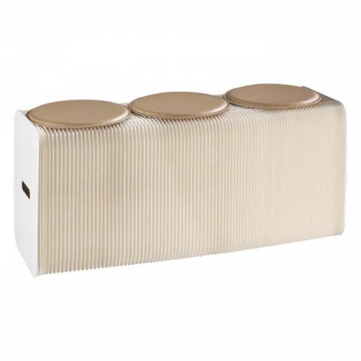 Folding Bench In Paper With Three Eco Leather Cushions