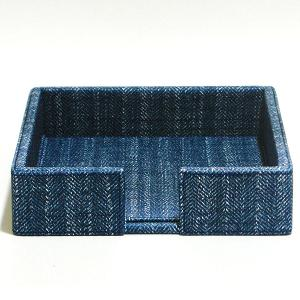 Large Napkin Holder Leather Blue
