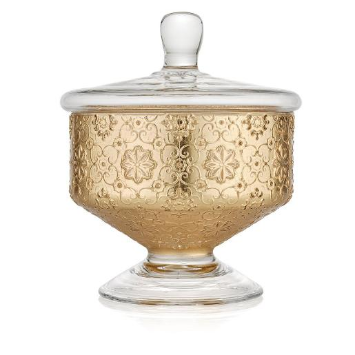 Arabesque Bowl with Lid 18cm Gold