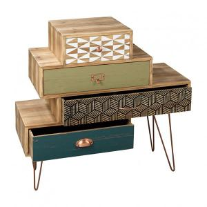 Wooden Cabinet With 4 Drawers and Coppered Metal Legs