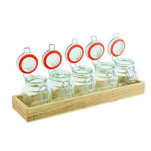 Flight Jars With Wood Base Set Of 5 Pieces