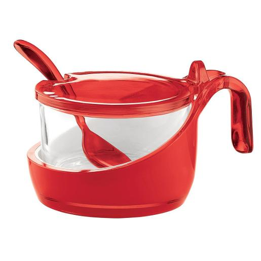 Look Sugar Holder with Lid Red