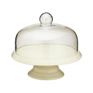 Ceramic Cake Stand with Glass Domed Dia 29cm
