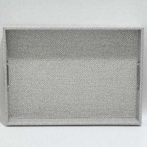 Rectangular Tray Leather White and Grey