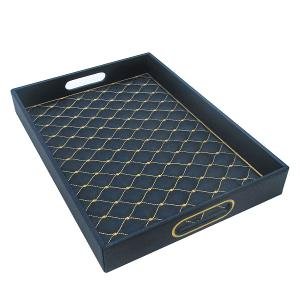 Rectangular Tray Leather Navy With Gold Pattern