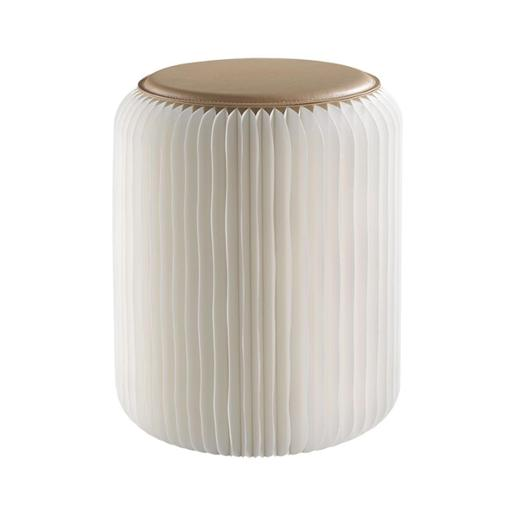 Accordion Foldable Paper Stool With Pu Seat