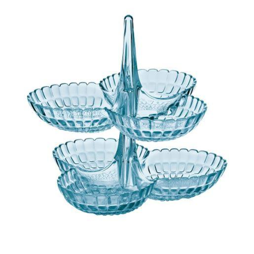 Tiffany Hors Doeuvres Dish Sea Blue Set Of Two Tiers