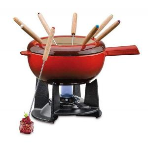 Saas Fee Fondue Set Red