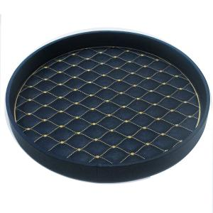 Round Tray Leather Navy With Gold Pattern