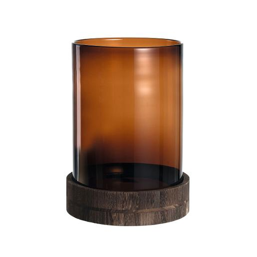 Hurricane Lamp With Wooden Base Dia 38cm Brown
