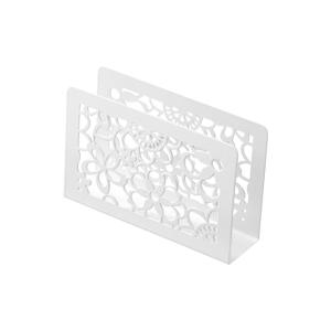 White Painted Metal Napkin Holder With Laser Cut Design Dia 15x4x10cm