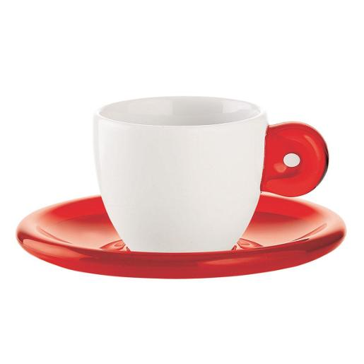GOCCE Coffee Cup & Saucer Set of 6 Red