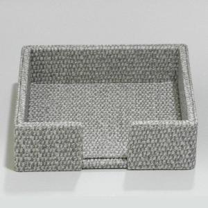 Small Napkin Holder leather Grey and White