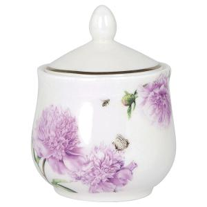 Peonies Pink Sugar Bowl with Lod