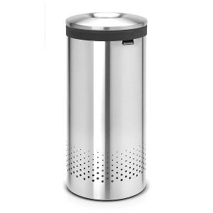 Laundry Bin 35 Litre Metal Lid Matt Steel