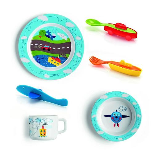 Traffic Set of Dinner Plate Soup Dish Cutlery