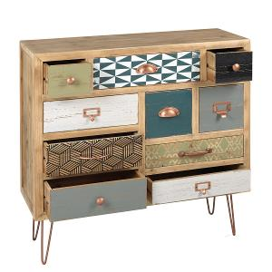Wooden Cabinet With 10 Drawers and Coppered Metal Legs
