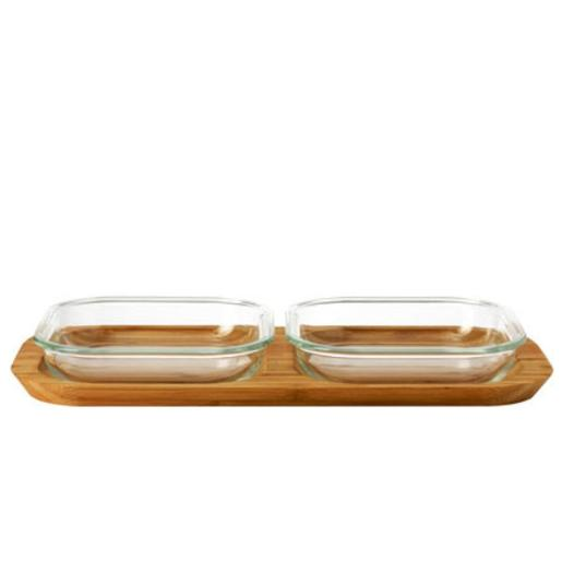 Gusto Bowls Set of 2 with wooden Base 34x16cm