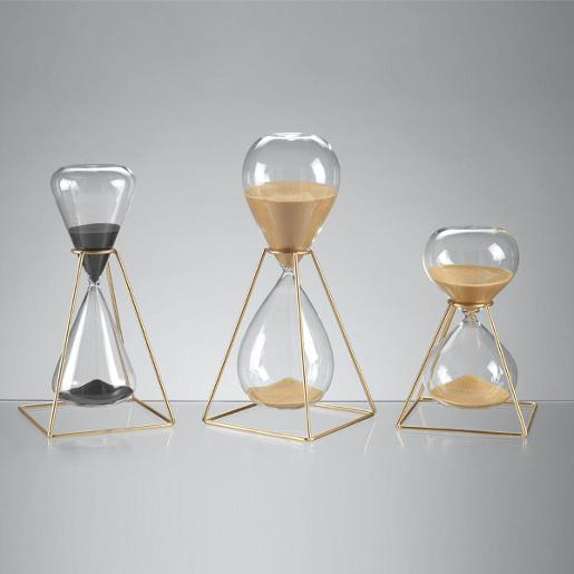 30 Minutes Hourglasses With Golden Metal Structure H19cm