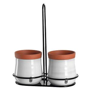 Plant Pot With Holder White