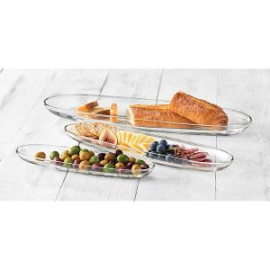 Aviva Oval Plates Set of 3 Pieces Glass
