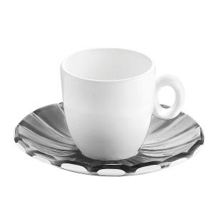 Grace Espresso Cups & Saucers Set of 6 Pieces Grey