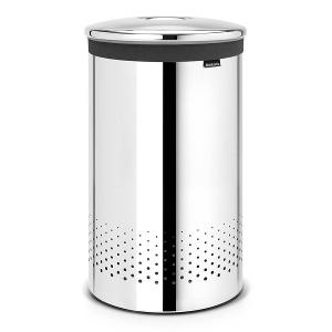 Laundry Bin 60 Liter Metal Lid Brilliant Steel