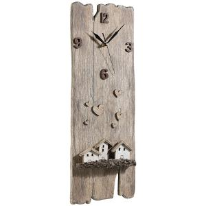 Wooden Beach Wall Clock With Little Houses